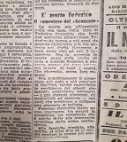 Articolo dell'Unione Sarda dedicato a Federico Porceddu