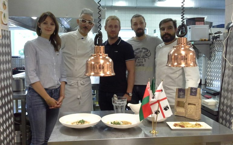 Grande successo in Bielorussia della fregula sarda del pastificio Porta 1918 cucinata dallo chef Davide Bonu