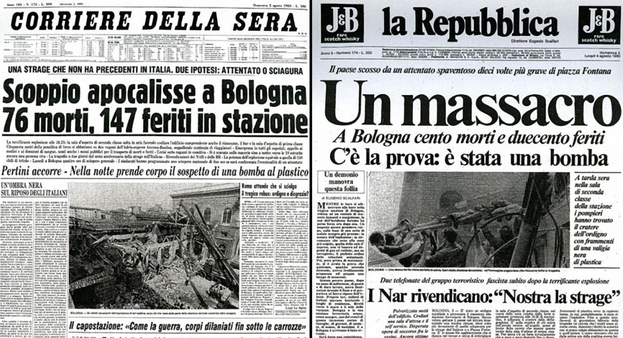 Strage di Bologna - Prima pagina Corriere della Sera e La Repubblica