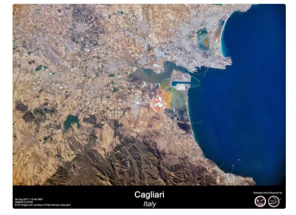 """Cagliari e la Sardegna dallo spazio: le """"foto"""" in orbita dell'astronauta italiano Ignazio Magnani"""