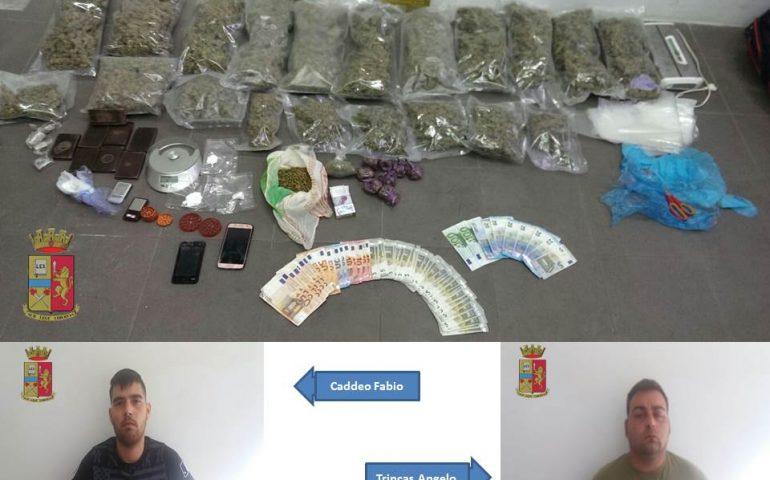 Marijuana, hashish e cocaina: più di 5 kg di droga sequestrata in via Brianza. Due cagliaritani in manette