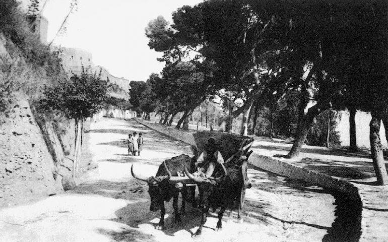 La Cagliari che non c'è più, il Terrapieno a Cagliari agli inizi del Novecento: il traffico non era certo un problema