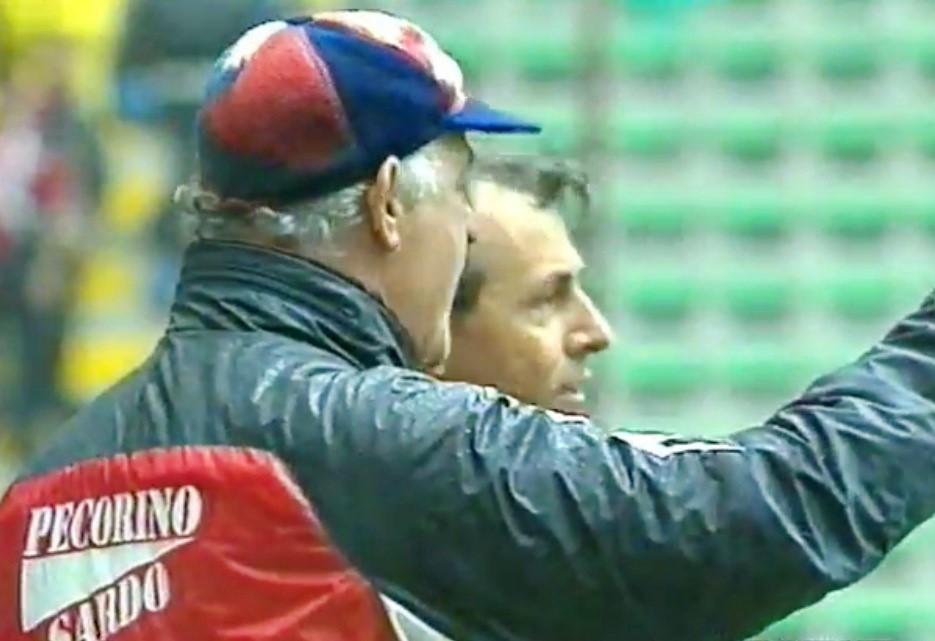 Carlo Mazzone sulla panchina del Cagliari