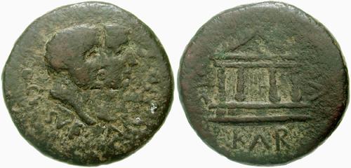 Moneta del I sec. a. C. con riproduzione del tempio di Venere