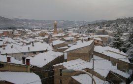 Una foto di Ovodda sotto la neve