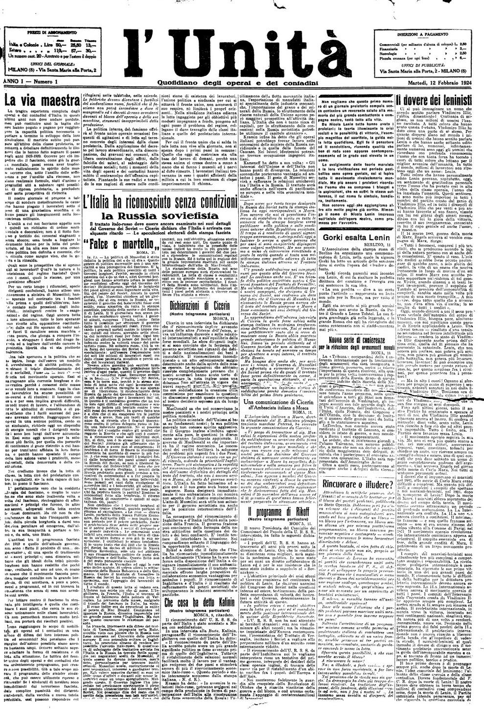 Accadde oggi primo numero de L'Unità - 12 febbraio 1924