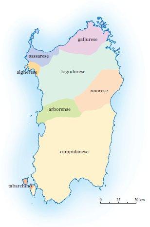 Lingua sarda - Varianti (Foto Treccani)