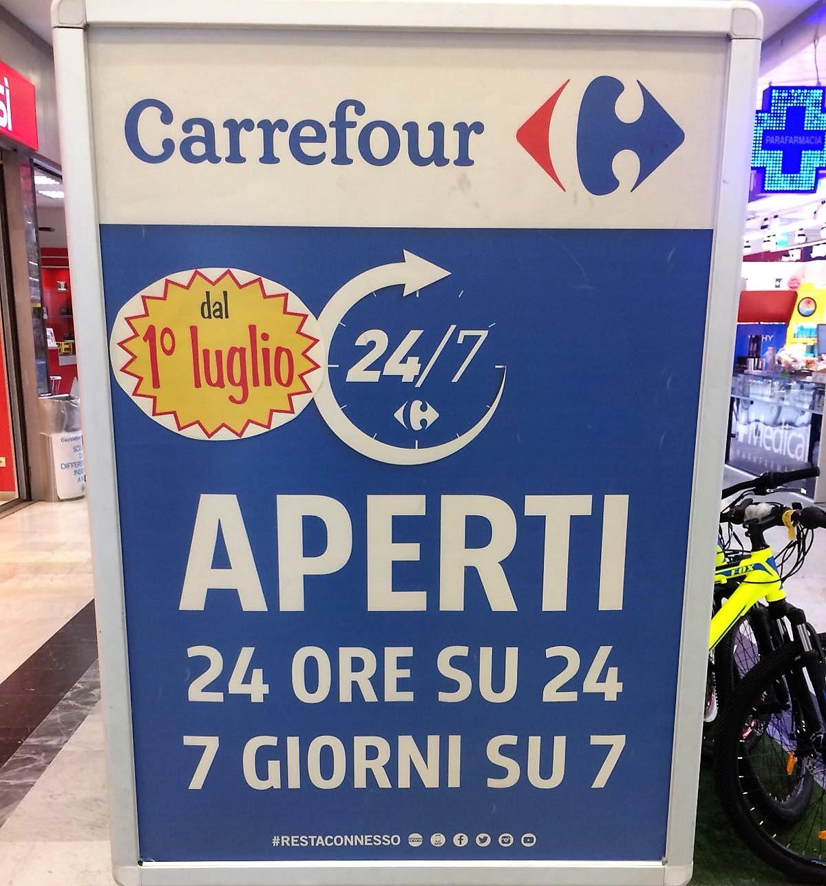Carrefour h24 da oggi aperto senza interruzioni l for Orari apertura bricoman cagliari