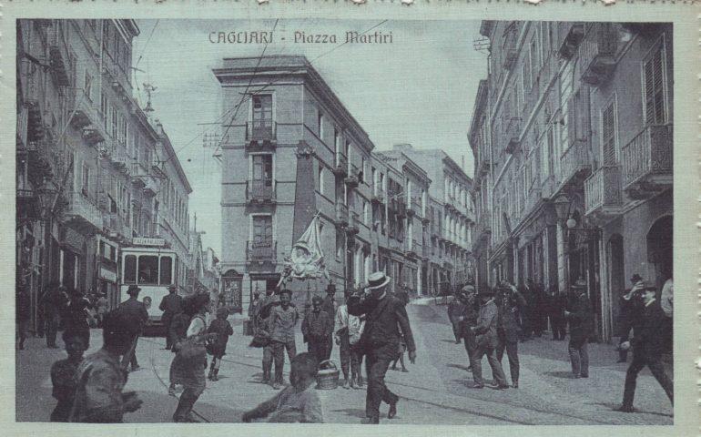 La Cagliari che non c'è più: piazza Martiri in una foto del 1914