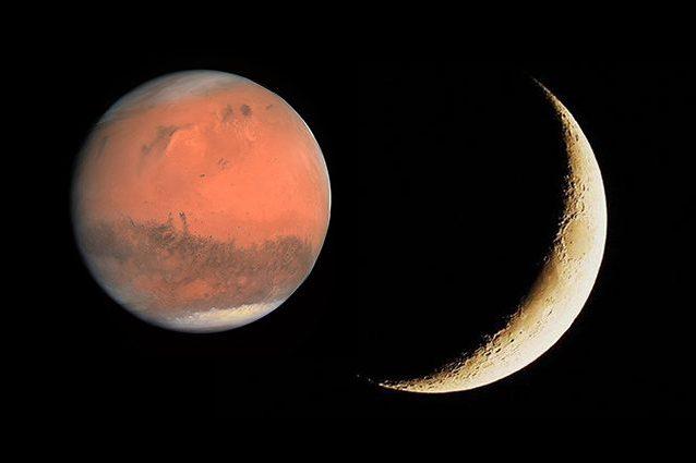 """Il """"bacio"""" tra la Luna e Marte: stanotte romantico appuntamento per gli amanti delle stelle"""
