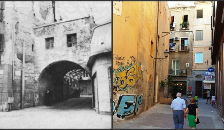 La Cagliari che non c'è più: il Portico Romero, porta medievale di Villanova. Fu abbattuto nel 1963