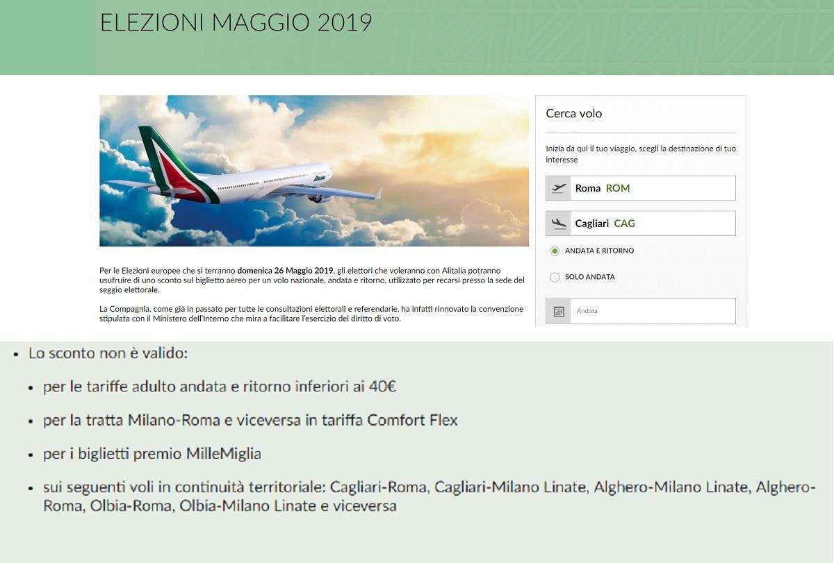 Alitalia tariffe elezioni europee sardi esclusi