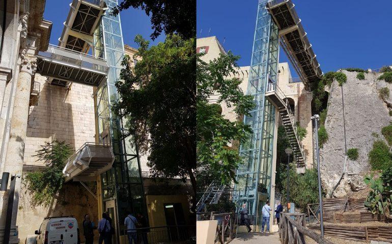 Cagliari, in fase di collaudo questa mattina gli ascensori per Castello