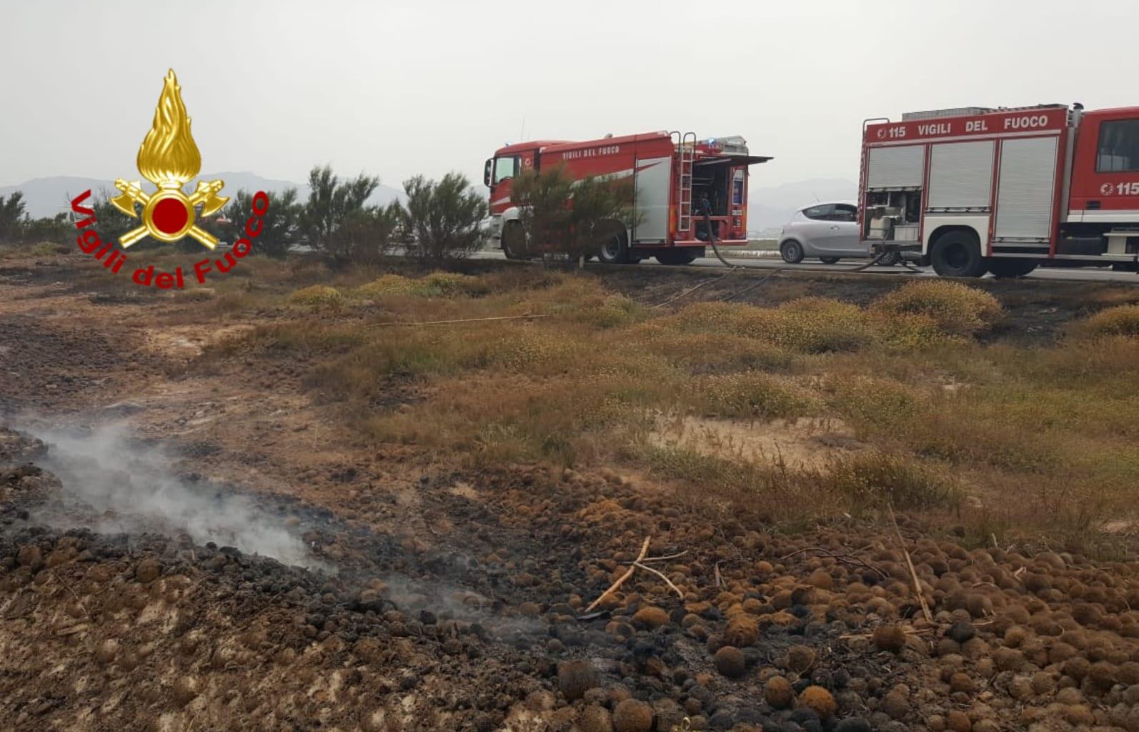 Combustione alghe a giorgino vigili del fuoco