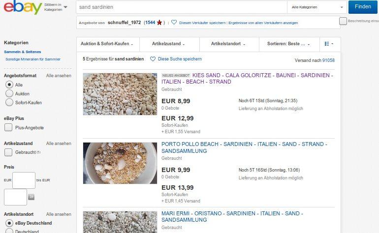In vendita sulla piattaforma tedesca di Ebay la sabbia della Sardegna. La denuncia del GrIG