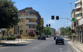 Il semaforo di via Portogallo a QUartu riattivato dopo la tragica morte di un'anziana -Foto Farmacia Martinez
