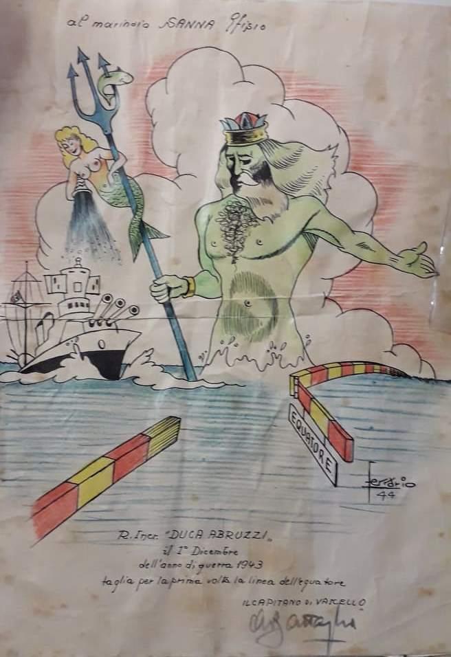 8 settembre '43, disegno, mare, nave, tritone, nuvola