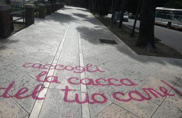 la scritta apparsa nel Terrapieno di Cagliari - Foto di Walter Rebel Carta