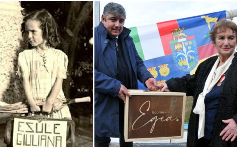 """Alghero: Egea Haffner, """"La bambina con la valigia"""" posa la prima pietra del museo sull'esodo giuliano-dalmata"""