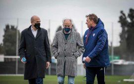 Tomaso Giulini, Stefano Capoucca e Leonardo Semplici - foto Cagliari Calcio
