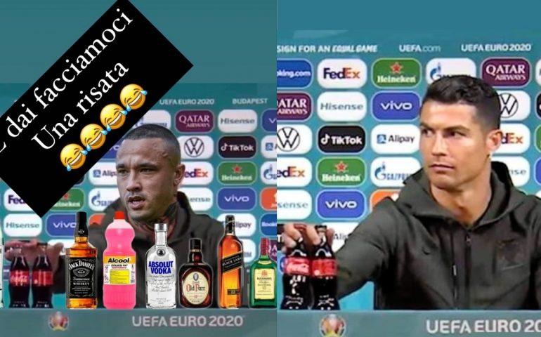 Cristiano Ronaldo sposta la Coca Cola? Nainggolan ci scherza su e posta un meme su sé stesso