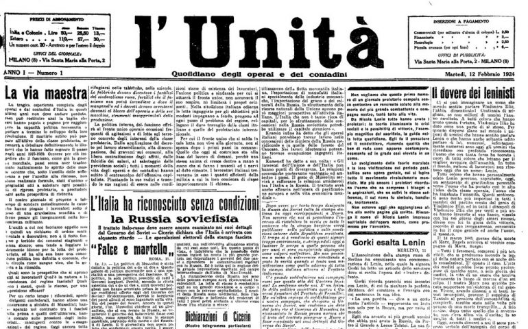 Accadde oggi. 12 febbraio 1924: L'Unità di Antonio Gramsci pubblica il suo primo numero
