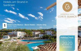 Cardedu, l'Hotel Corte Bianca premiato con l'HolidayCheck Award 2020