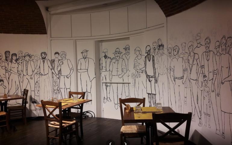 """L'osteria di Rescaldina sottratta alla criminalità organizzata, """"regala"""" un muro a 150 studenti per realizzare un murales contro la mafia."""