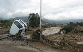 Un'immagine dell'alluvione che colpì Capoterra nel 2008