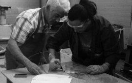 Roberto Cau e Virginia Brescia al lavoro nel loro studio