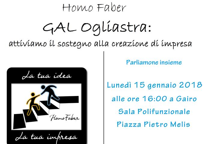 """Gal Ogliastra, il progetto """"Homo Faber"""" fa tappa a Gairo"""