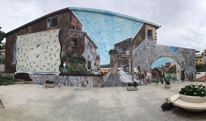 Il murale di Franco Mascia a Triei