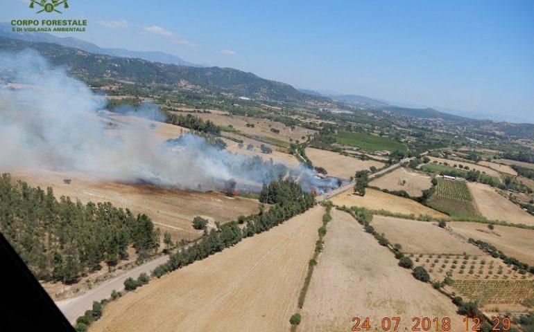 Fiamme nelle campagne tra Cardedu e Bari Sardo. All'opera anche due elicotteri
