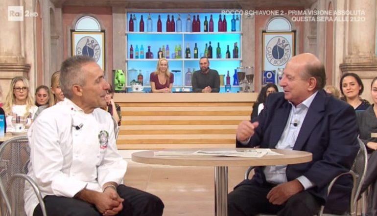 """L'ogliastrino Pietro Catzola, cuoco dei Presidenti della Repubblica, viene intervistato durante il programma """"I Fatti Vostri"""" su Rai 2"""