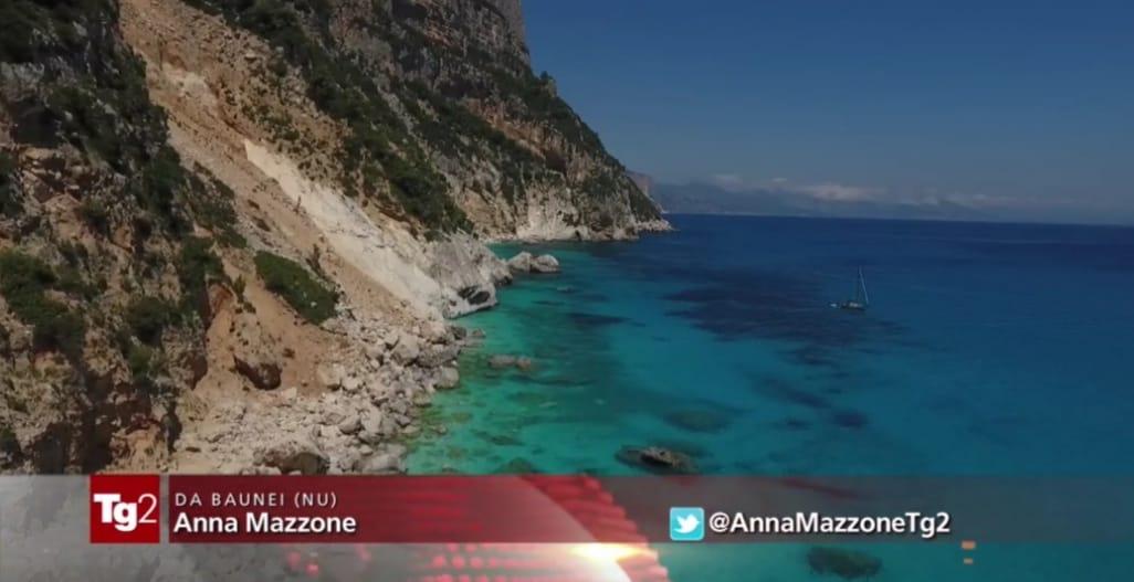 Immagine di Cala Goloritzé mandata in onda dal Tg2.