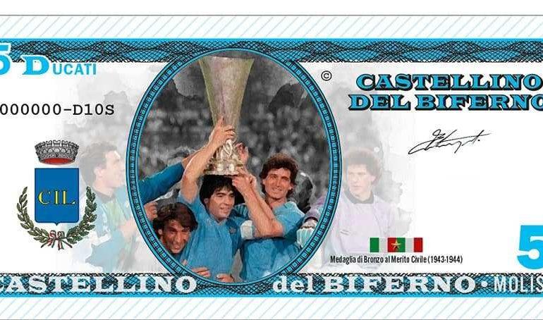 Castellino del Biferno conia banconote con Maradona, del valore dell'euro