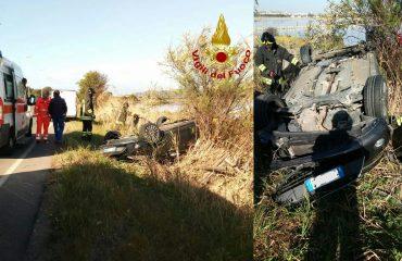 Brutto incidente in viale Poetto auto si ribalta, ferita una donna (2)